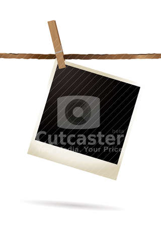 Isolated polaroid single stock vector clipart, Single polaroid hanging on a piece of string by Michael Travers