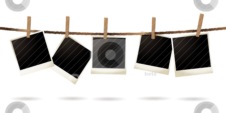 Isolated polaroid stock vector clipart, Collection of blank images hanging on a piece of string by Michael Travers