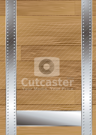 Wood grain strap stock vector clipart, Wood background with a meta strap and panel for text by Michael Travers