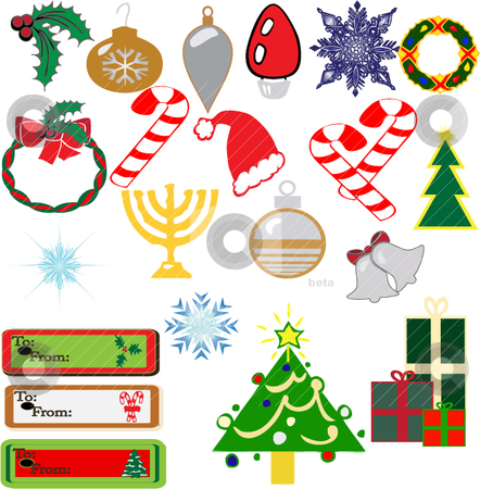 Vector Christmas designs stock vector clipart, A multiple of vector Christmas icons used for clip-art, tags, or other holiday uses by Michelle Bergkamp