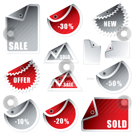 Tag bend silver red stock vector clipart, Collection of shop tags with discount and sale text by Michael Travers
