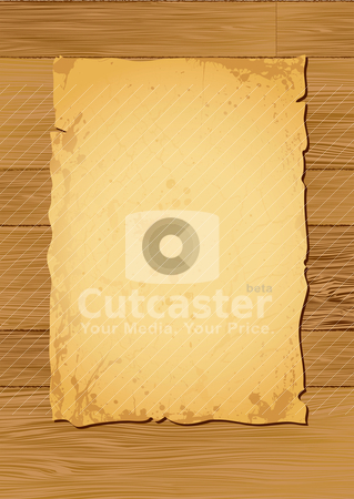 Light wood parchment stock vector clipart, Worn parchment placed over a wooden background with copy space by Michael Travers