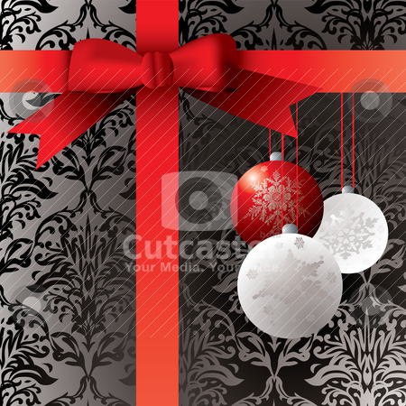 Gift wrapped present stock vector clipart, Wrapped present with baulbels and a wallpaper patern by Michael Travers