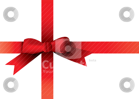 Christmas ribbon stock vector clipart, Illustrated red ribbon with room to add your own copy by Michael Travers