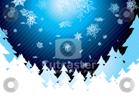 Snow screen stock vector clipart, Christmas background showing snow fall in the evening sky by Michael Travers