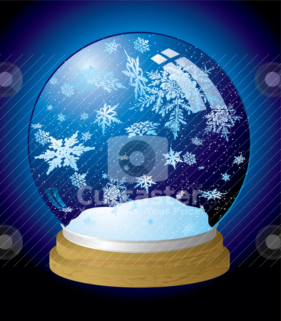 Snow globe flake stock vector clipart, Illustrated snow globe with a wooden base and outer glow by Michael Travers