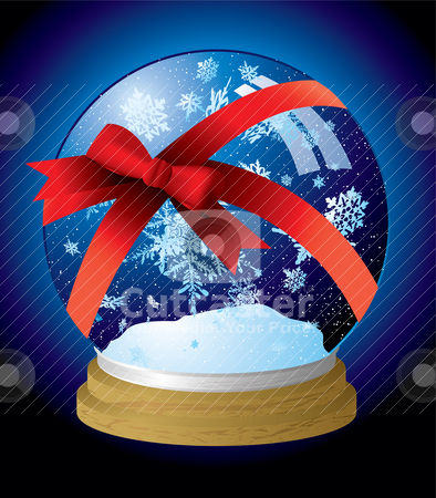 Snow globe ribbon stock vector clipart, Illustrated snow globe with a red ribbon present wrapped by Michael Travers