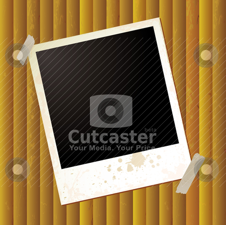 Polaroid ripple single stock vector clipart, Grunge effect polaroid on a golden rippled background by Michael Travers