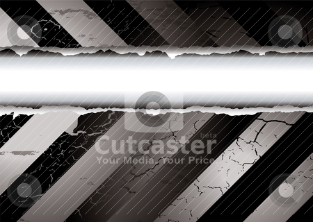 Black and white tear stock vector clipart, Black and white warning background with a torn middle by Michael Travers