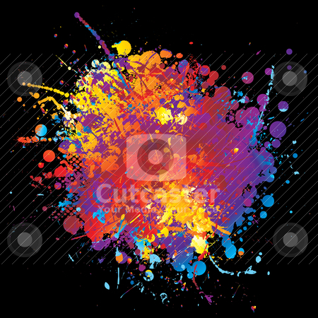 Ink rainbow rnd stock vector clipart, Round rainbow ink splat with halftone dot and black background by Michael Travers