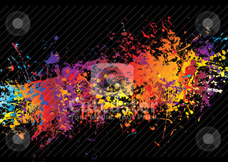 Ink crash rainbow stock vector clipart, Spray of multi coloured ink on a black background by Michael Travers