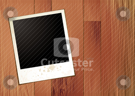 Wood panel polaroid stock vector clipart, Polaroid blank picture on a wood panel background by Michael Travers