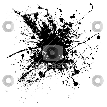 Ink splatter one stock vector clipart, Random illustrated ink splat in black and white by Michael Travers