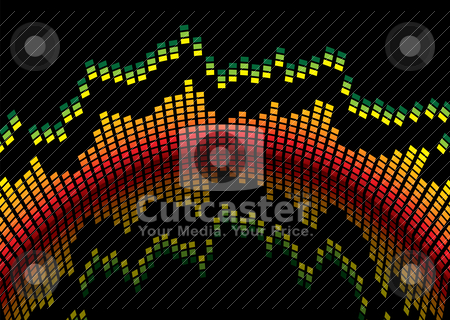 Hot bulge equaliser stock vector clipart, Graphical equaliser readout in red and yellow and black background by Michael Travers