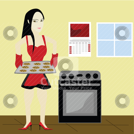 Woman baking cookies stock vector clipart, Illustration of a sexy young housewife holding a baking sheet with fresh cookies by Bruno Marsiaj