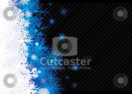 Snowflake pile blue stock vector clipart, Christmas snow flake inspired background in blaue and black by Michael Travers