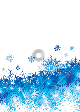 Snowflake pile blue space stock vector clipart, Christmas background image with blue snowflakes and copyspace by Michael Travers