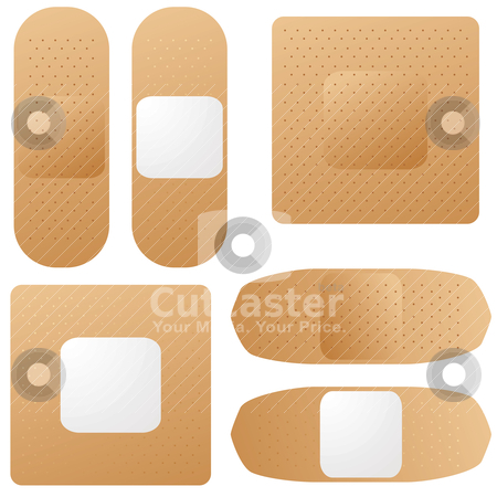 Band aid stock vector clipart, Collection of brown illustrated band aids from both sides by Michael Travers