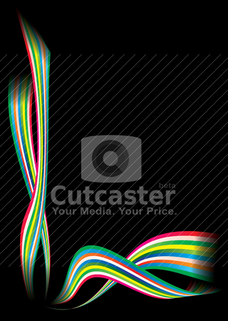 Rainbow modern corner stock vector clipart, Brightly coloured rainbow background in black with copyspace by Michael Travers