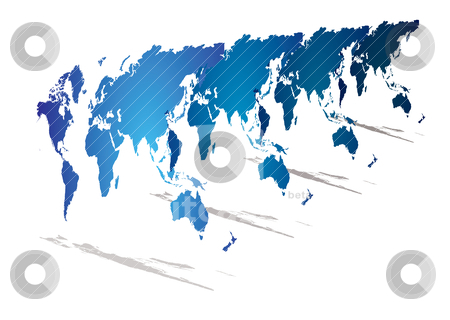 World map perspective stock vector clipart, Modern look at a world map in blue with 3d perspective by Michael Travers