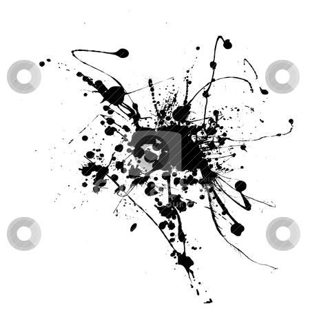 Spider ink splat stock vector clipart, Simple black and white ink splat that is editable by Michael Travers