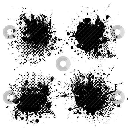 Small halftone ink splat stock vector clipart, Collection of four ink splats with halftone dots in black by Michael Travers