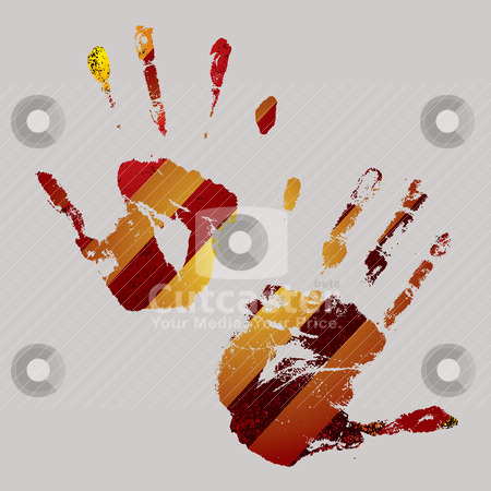 Warning hand stock vector clipart, Brightly coloured hand print design with warning stripes by Michael Travers