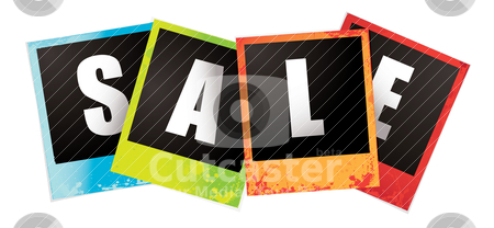 Sale images stock vector clipart, Collection of four multi coloured instant sale photographs by Michael Travers