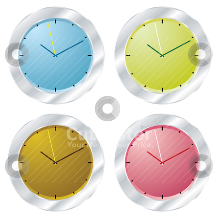 Modern clock stock vector clipart, Set of clocks with silver bevel and different coloured faces by Michael Travers