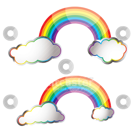 Rainbow reflect stock vector clipart, Two bright colourful rainbows with fluffy clouds by Michael Travers