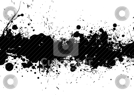 Splat band blk stock vector clipart, Black and white ink splat background by Michael Travers