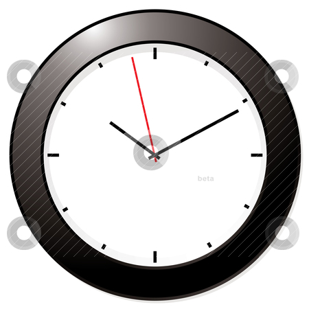Modern mono clock stock vector clipart, Clean and simple black and white clock by Michael Travers
