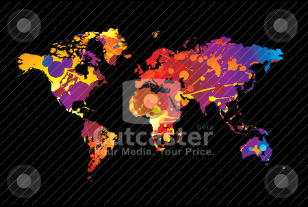 Paint spalt world stock vector clipart, Colorful paint spalt world background by Michael Travers