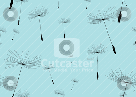 Dandelion stock vector clipart, Dandelion silhouette background in blue and black by Michael Travers