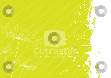 Dandelion green stock vector clipart, Green and white dandelion background with copyspace by Michael Travers