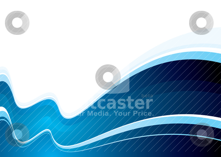 Ocean swell blue stock vector clipart, Blue and white abstract background with wave design by Michael Travers