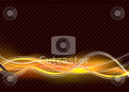 Hot runnings swoosh stock vector clipart, Orange and black abstract background with wave lines by Michael Travers