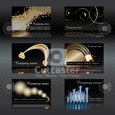 Black Visiting cards stock vector clipart, Black Visiting cards set 6 vector illustration - easy to change. by Milsi Art