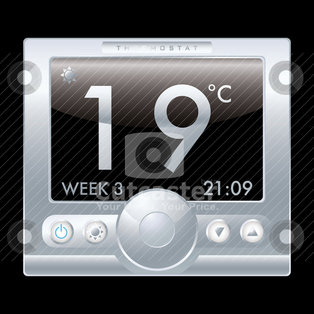 Thermostat stock vector clipart, Illustration of a modern silver metal thermostat with black background by Michael Travers