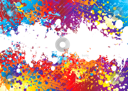 Ink splat rainbow white stock vector clipart, Rainbow coloured abstract background with a white band by Michael Travers