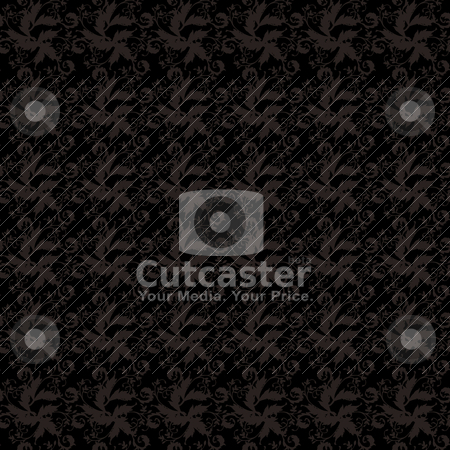 Black floral tile stock vector clipart, Black and gray floral seamless illustrated designed background by Michael Travers
