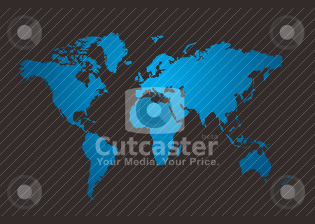 World map shine stock vector clipart, World map in blue with a dark gray background by Michael Travers