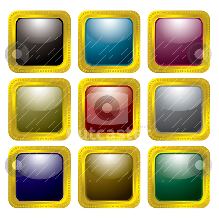 Gold rivet bevel stock vector clipart, Collection of nine colourful buttons with gold rivet bevel by Michael Travers