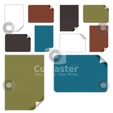 Paper curl variation stock vector clipart, Page curl with colour variations and a drop shadow by Michael Travers