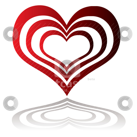 Heart insert red stock vector clipart, Red heart with smaller hearts inserted with drop shadow by Michael Travers