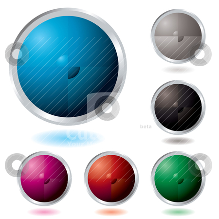 Button divide stock vector clipart, Six Illustrated colourful buttons with a drop shadow by Michael Travers