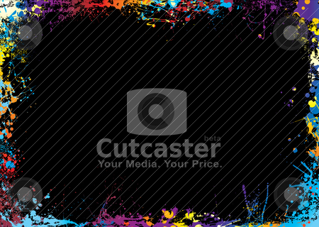 Rainbow bright border stock vector clipart, Black background with a rainbow ink spalt border by Michael Travers