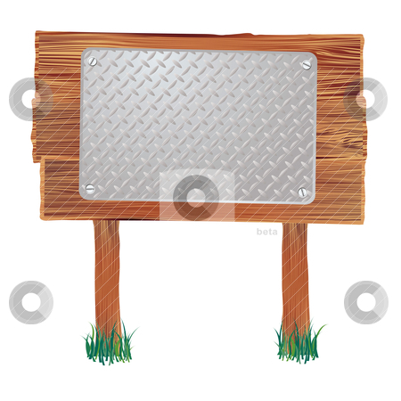 Wood sign metal stock vector clipart, Wooden sign with metal placeholder and grass around the base by Michael Travers