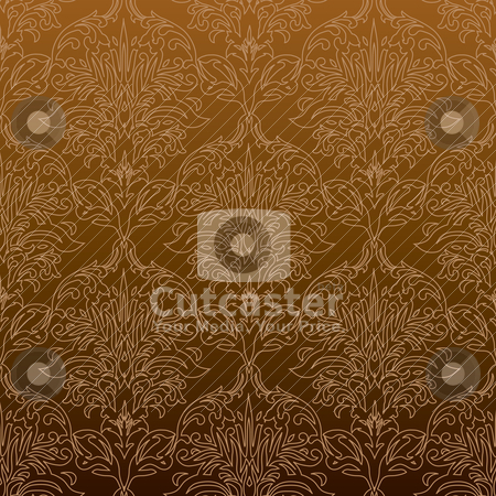Seamless outline orange stock vector clipart, Orange and black wallpaper background with a outline floral design by Michael Travers