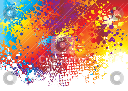 Ink splat rainbow bottom stock vector clipart, Rainbow background with ink splat effect with white paint by Michael Travers